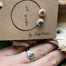 ceramiczny pierścionek i kolczyki